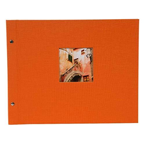goldbuch Schraubalbum mit Fensterausschnitt, Bella Vista, 39 x 31 cm, 40 schwarze Seiten mit Pergamin-Trennblättern, Erweiterbar, Leinen, Orange, 28979