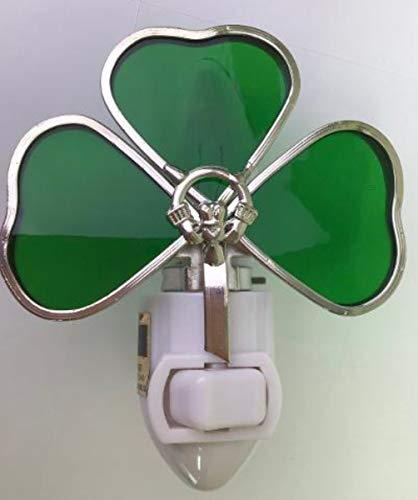 Real Stained Glass Irish Shamrock with Claddagh Night Light - Silver Finish
