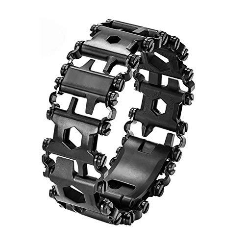 LCAZ - Braccialetto multiuso in acciaio INOX, con cacciavite multifunzione 29 in 1, per navigare, viaggi, campeggio, escursionismo, kit di emergenza (nero)