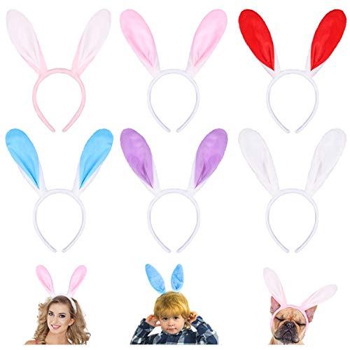 Bunny Plüsch Haarreif Hasenohren Stirnbänder, Frcolor 6 Stück Easter Bunny Ears Haarbänder für Ostern Easter Kostüm Cosplay Häschenohrstirnbandplüsch