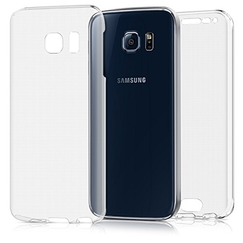 kwmobile Funda Compatible con Samsung Galaxy S6 Edge - Carcasa Completa 360 para móvil - Cover Doble - Transparente