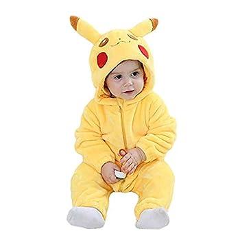 Unisex-Baby Romper Flannel Costume Onesie Jumpsuit Animal Cosplay Outfits  Yellow Medium