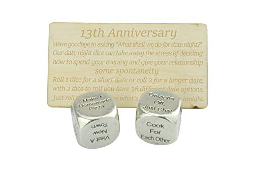 13 Year Anniversary Metal Date Night Dice - Create a Unique 13th...