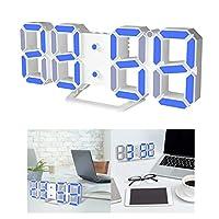 Baoblaze 現代のデジタル3D LEDデスククロックウォッチスヌーズ12/24時間アラームギフトNEW - ホワイト+ブルー