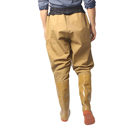 WUTRBYZ Men Fishing Waders Pants And Boots, Ultra Lightweight Waterproof Rubber Boots with Inkauer Waist, Breathable Outdoor Hunting And Fishing Clothes for Men Ladies,Beige,45 EU
