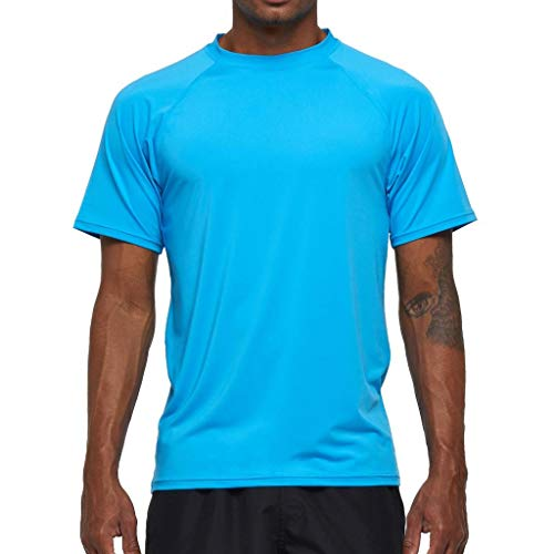 Arcweg Rashguard Herren Kurzarm Shirt UV Schutz T-Shirt Elastisch Schnelltrocknend Sun Shirt UPF 50 Tops Funktionsshirt Fitness Shirt Rash Vest zum Surf Laufen Angeln Wandern M-3XL Himmelblau EU XXL