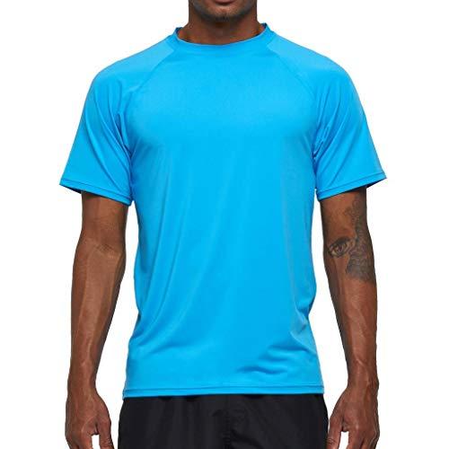Arcweg Rashguard Herren Kurzarm Shirt UV Schutz T-Shirt Elastisch Schnelltrocknend Sun Shirt UPF 50 Tops Funktionsshirt Fitness Shirt Rash Vest zum Surf Laufen Angeln Wandern M-3XL Himmelblau EU L