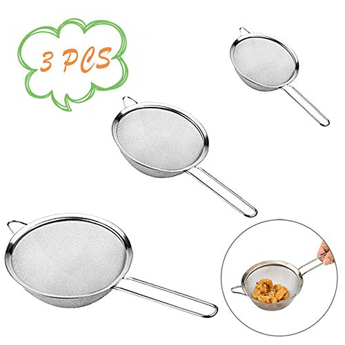 """3PCS Mesh Strainers,Mesh Stainless Steel Strainers with Handle, 2.5''+4.6""""+7.2"""" Sizes for Baking and Cooking,Tea, Juice, Rinse Vegetable Fruit"""