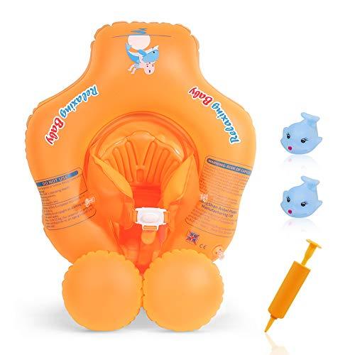 Delicacy Baby Schwimmring, Säuglings Schwimmen Schwimmer Sitz mit Auftriebsboje, Justierbare Taille Baby aufblasbarer Ring mit Crotch Unterteil Stützung, für Babys über 8 kg / 6-24 Monate - Orange