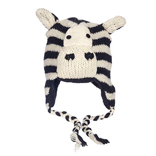 Zebra-Wintermütze, lustig, handgefertigt, Tiermütze mit Vlies-Futter, Unisex