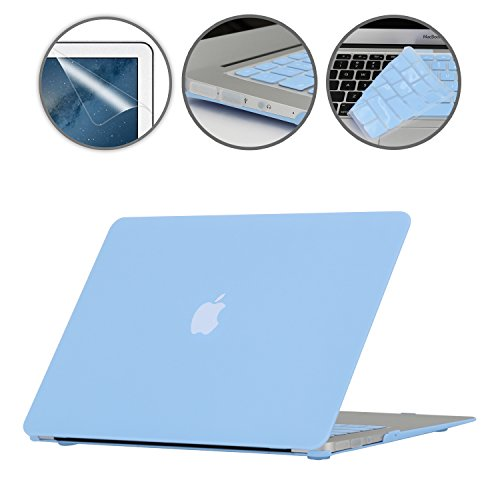i-Buy Funda Dura Compatible con Old MacBook Air 13.3 Pulgadas 2010-2017(Model A1369 A1466)+ Teclado Cubierta + Protector de Pantalla + Enchufe del Polvo - Azul de Airy