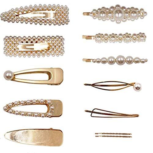 OSYARD Haarspangen Faux Perlen Hair Clips, 12 stücke Haarklammern Eye-catcher Perlenhaarspange Haarnadeln Brauthaargriffe Haarschmuck Für Hochzeit