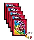 Panini Miraculous Ladybug Super Heroez Team Sticker – (5 bolsas de pegatinas) cada uno con 4 pegatinas + 1 tarjeta adhesiva & tarjeta Trading además 1 x surtido de frutas Sticker-und-co