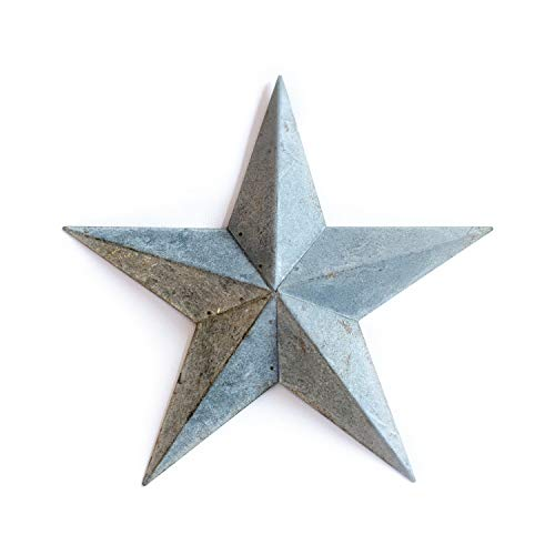 Galvanized Metal TIN BARN Star 24 -Grey zinc Rustic Country Indoor Outdoor Christmas Home Decor. Interior Exterior Decorations Look Great Hanging on House Walls Fence Porch Patio. Quality Gift 24'