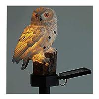 フクロウ形ライトLEDソーラーガーデンライト芝生ランプ防水ソーラー屋外照明常夜灯装飾ホームガーデン,White