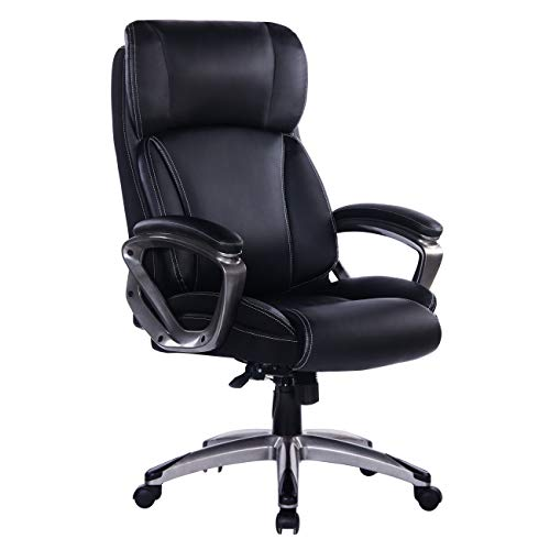 Bosmiller Bürostuhl Chefsessel Drehstuhl Computerstuhl Sitzhöhenverstellung Office Stuhl Polsterung (9078Schwarz)