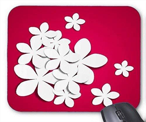 Robustes Gaming-Mauspad, Xueyu-roter Hintergrund, weiße Papierblumen-Mausmatte