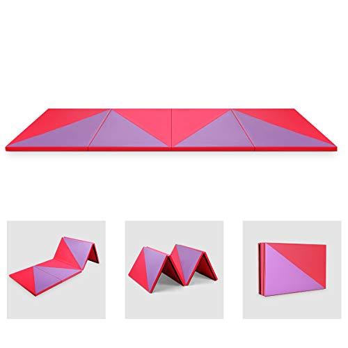 GOPLUS Weichbodenmatte Turnmatte Yogamatte Gymnastikmatte Sportmatte Fitnessmatte klappbar PU Farbwahl 300x120x5cm (Rot und Lila)