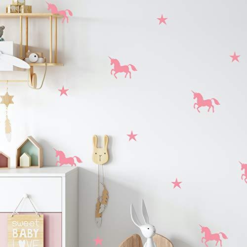 Unicornio Rosa - Vinilos infantiles Unicornio habitación niña, habitación de bebé, vinilos infantiles niña, unicornio pegatinas de pared, unicornio vinilos decorativos, vinilos infantiles estrellas