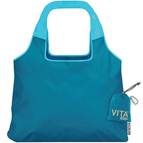 ChicoBag VITA RePETe - Bolso reutilizable para el hombro con funda 100% reciclado de PET, color azul claro