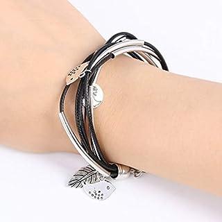 Bracelets 3PCS Silver Charm Leaves Tibetant Silver Multilayer Bracelets(Black) Bracelets (Color : Beige)