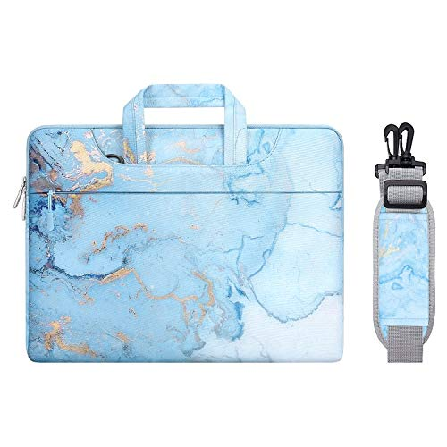 MOSISO Laptop Shoulder Bag Compatible with MacBook Pro 16 inch A2141 2020 2019, 15 15.4 15.6 inch Dell Lenovo HP Asus Acer Samsung Chromebook, Polyester Watercolor Marble Briefcase Sleeve, Turquoise