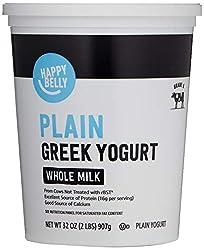 Amazon Brand - Happy Belly Greek Whole Milk Plain Yogurt, 32 Ounce