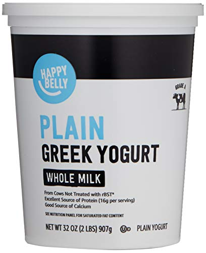 Amazon Brand - Happy Belly Greek Whole Milk Plain Yogurt, 32 Ounce
