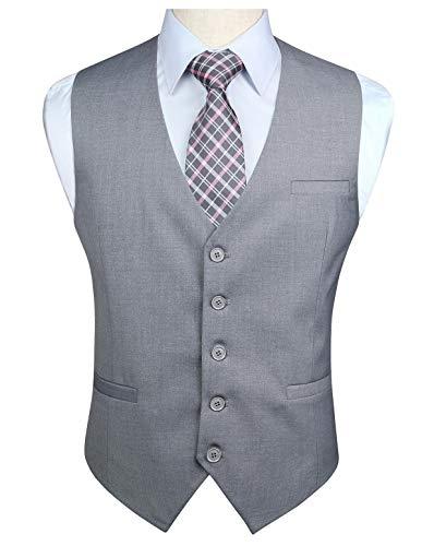 Enlision Chaleco de algodon de boda formal para hombres Chaleco de color solido Gris-1