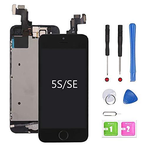 Ecran iPhone 5s Noir LCD Vitre Préassemblés Tactile Complet sur Châssis avec Outils de Réparation Bouton Home Caméra Frontale Capteur de Proximité Haut-Parleur et Ecran Protecteur Kit d'outils