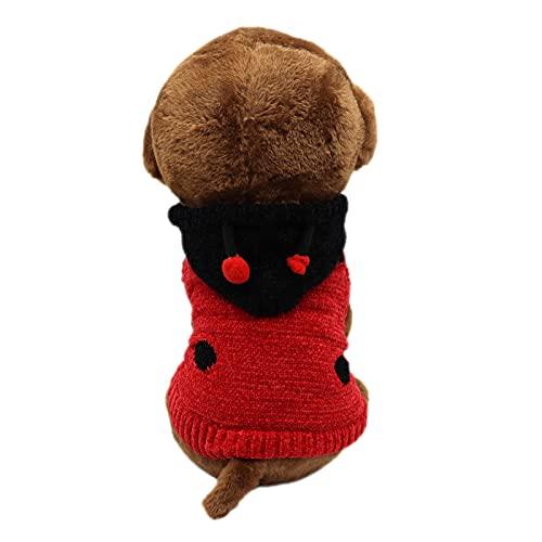 SKXEO Suéter para perro, patrón de mariquita, suéteres con capucha para invierno, ropa cálida para perros pequeños y medianos