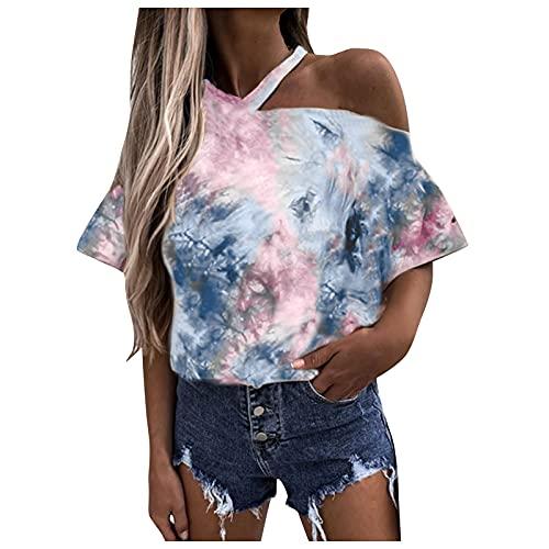 YANFANG Blusa Camisetas para Mujer de Manga Corta con Cuello en v Sueltas Verano básicas túnica Bolsillo Camiseta Hombros Descubiertos y Estampado,Gris,L
