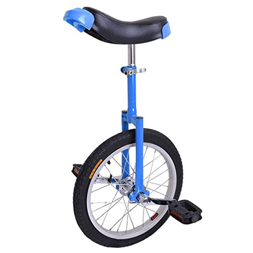 16-inch Wheel Aluminum Rim Steel Fork Frame Unicycle Blue w/Comfortable Saddle Seat Rubber Mountain Tire for Balance Exercise Training Road Street Bike Cycling