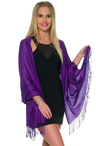 Pashmina Shawls and Wraps for Evening Dresses, Large Soft Pashmina Wedding Dark Purple Shawl