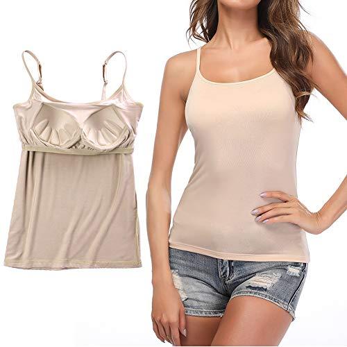 STARBILD Damen BH-Hemd Unterhemd mit unsichtbarer gepolsterter BH Bügelloser und Verstellbaren Trägern Komfortable Unterhemd, Beige XL