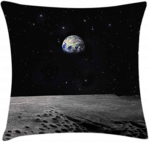 Earth Throw Pillow Cushion Cover Planet Earth As Seen from The Moon Outer Space Milky Way Quiet Night Sky Galaxy Decorative Square Accent Pillow Case 18' X 18' Black Grey Blue