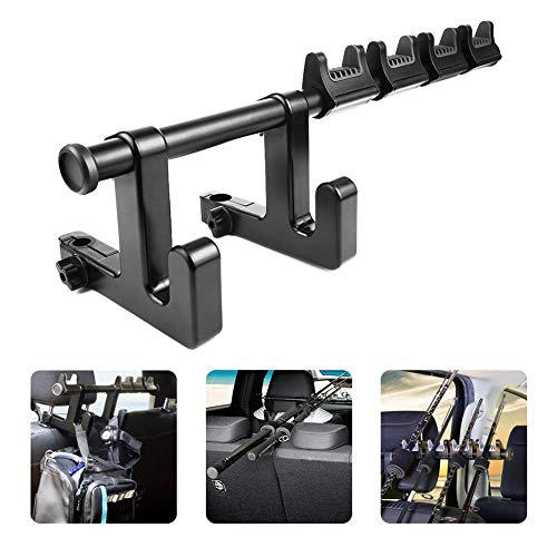 LITTLEMOLE Car Fishing Rod Holder with Seat Hook, Multifunctional Fishing Pole Rod Rack, Car Headrest Hooks Hanger Holder for Bag, Purse, Cloth, Grocery