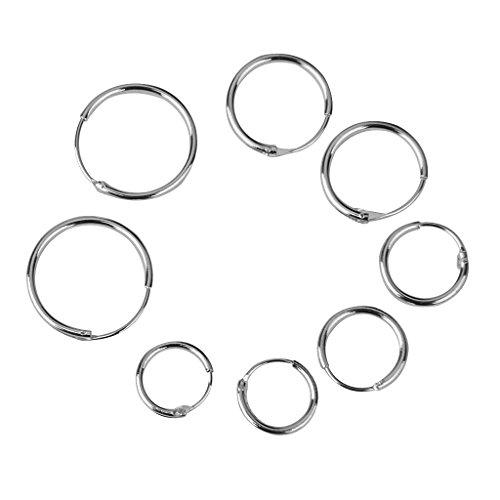 joyMerit 4 Pairs 925 Sterling Silver Hoop Sleeper Earring HINGED Small Large