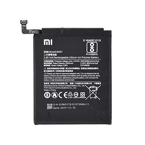 Batería Original Xiaomi BN31 con 3000 mAh para Xiaomi Redmi Note 5A Prime, Xiaomi Redmi Note 5A Pro/Xiaomi Redmi Note 5A / Xiaomi Mi 5X / Xiaomi Mi A1