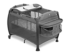 Flip-away changing table with sturdy vinyl top for easy cleaning supports a baby upto 25 pounds Full-size bassinet holds infant upto 15 pounds Diaper organizer and giant side pocket provide plenty of storage Waterproof cotton fitted sheet and travel ...