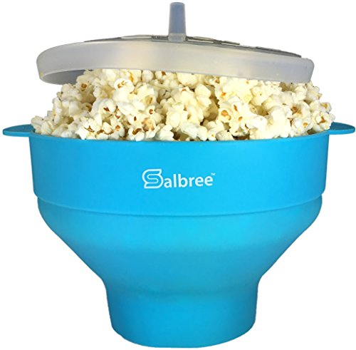 Original Salbree Microwave Popcorn Popper Silicone Popcorn Maker Collapsible Bowl BPA Free  15 Colors Available Turquoise