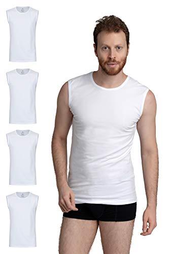 Burnell & Son Camiseta interior para hombre sin mangas con cuello redondo de algodón transpirable, corte ajustado, 4 unidades 4 blancos. S