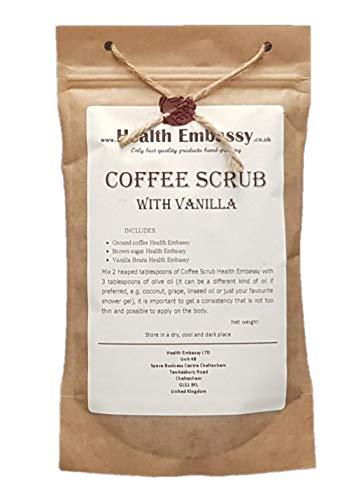 Health Embassy Gommage de Café avec Vanille/Coffee Scrub with Vanilla (peeling, body scrub), 150g