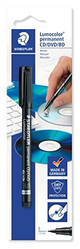 Staedtler 310-9CDBKD Lumocolor CD/DVD-Marker, Blisterkarte mit 1 Stück, schwarz