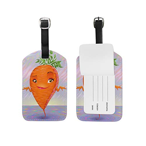 Moyyo Holographic Cute Carrot Luggage Tag Suitcase Tags Leather Travel Baggage Luggage Identify ID Tags Labels for Suitcases Luggage Tags with Privacy Cover