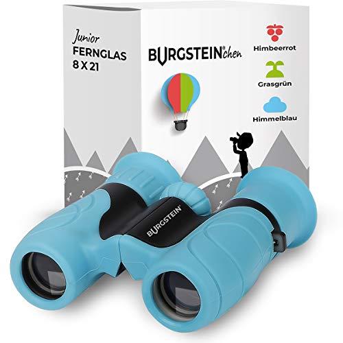 Burgstein®chen Fernglas für Kinder - Kompaktes Kinderfernglas 8x21 ab 3 Jahren, Leicht & Robust, inkl. Tasche, Reinigungstuch & Umhängeband (Himmelblau)
