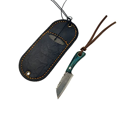 Damasco Steel Blade Mini Cuchillo de cocina Mango de madera Cuchillo Key Pequeño Cuchillo de cocina...