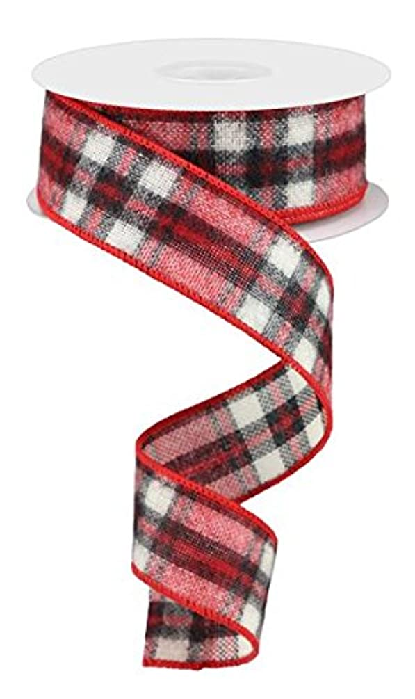 Fuzzy Woven Plaid Wired Edge Ribbon, 1.5