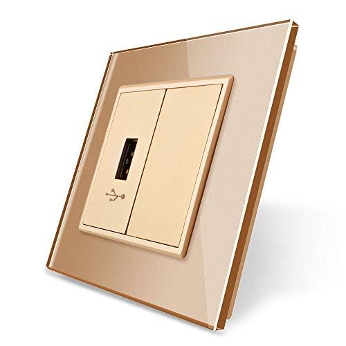 LIVOLO USB-stekker USB-doos met glazen deksel VL-C7-1USB-13 + VL-C7-SR-13 Gold