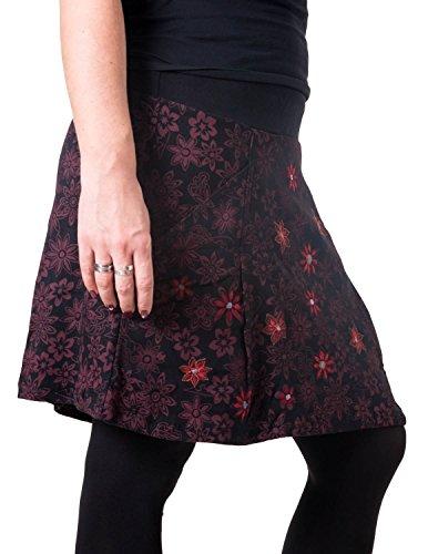 Vishes – Alternative Bekleidung – Warmer Herbst/Winter Rock aus Baumwolle – mit Blumen Bestickt schwarz 40